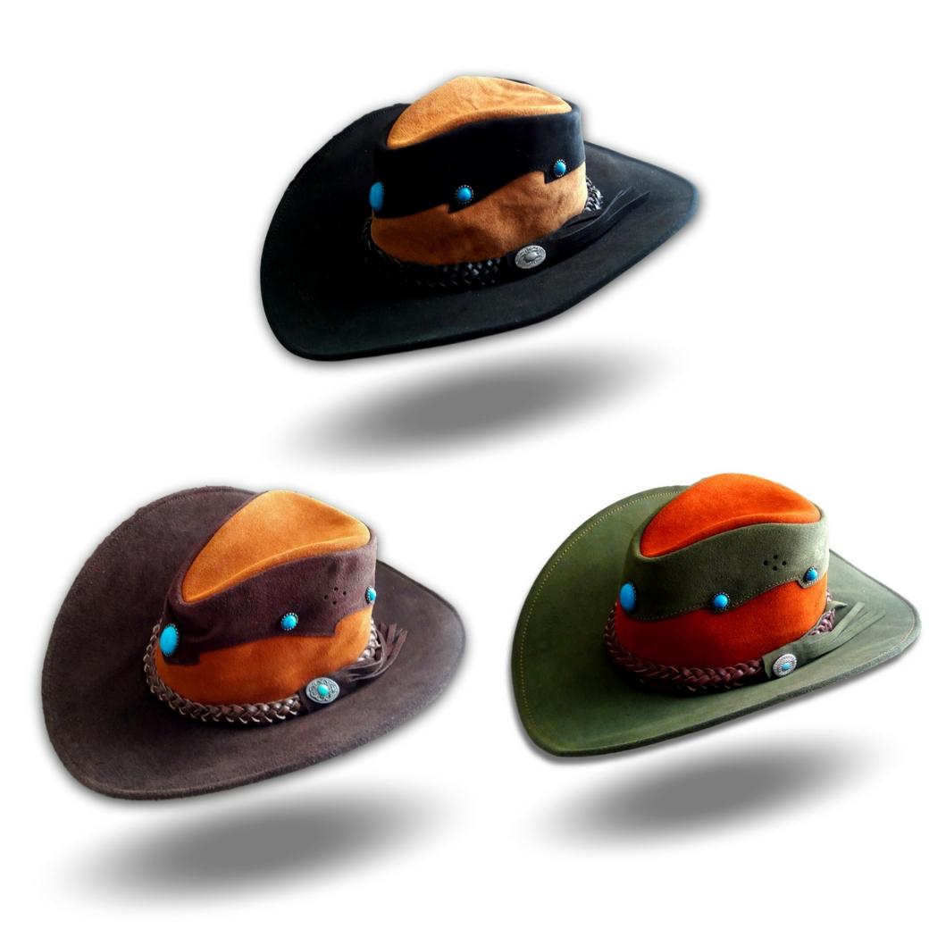หมวกคาวบอย ผลิตจากหนังวัวแท้ ประดับด้วยแร่ควอต และขนแพะบนหมวก เหมาะสำหรับทุกเพศทุกวัย