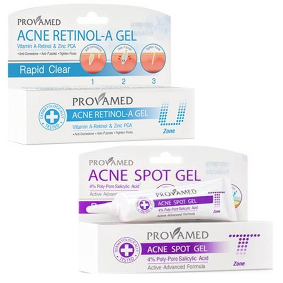 Provamed Acne Retinol-A Gel 10g คู่กับ Provamed Rapid Clear Acne Spot Gel 10g