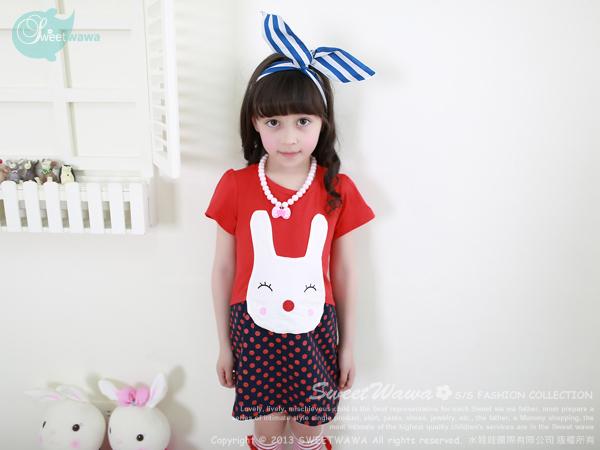 เสื้อผ้าเด็กนำเข้า ชุดเดรสเด็กผู้หญิง กระต่ายยิ้ม