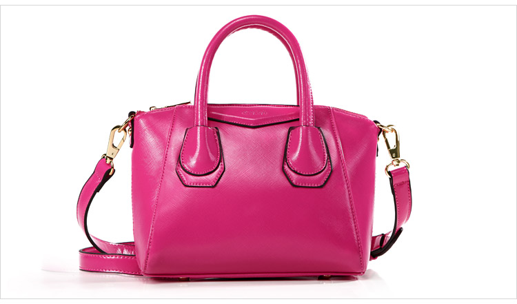 กระเป๋าแฟชั่นเกาหลี แบรนด์ Axixi หนัง PU เงา สีชมพูบานเย็น