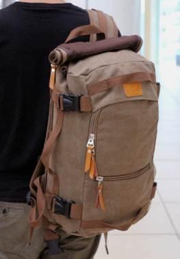 กระเป๋าสะพายหลังเหลี่ยมแฟชั่น ผ้าใบ แคมปิ้ง Size L น้ำเงิน น้ำตาล น้ำตาลผ้าใบล้วน