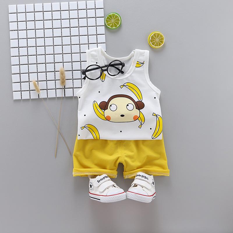 ชุดเซตเสื้อกล้ามลายกล้วย+กางเกงสีเหลือง แพ็ค 4 ชุด [size 6m-1y-2y-3y]