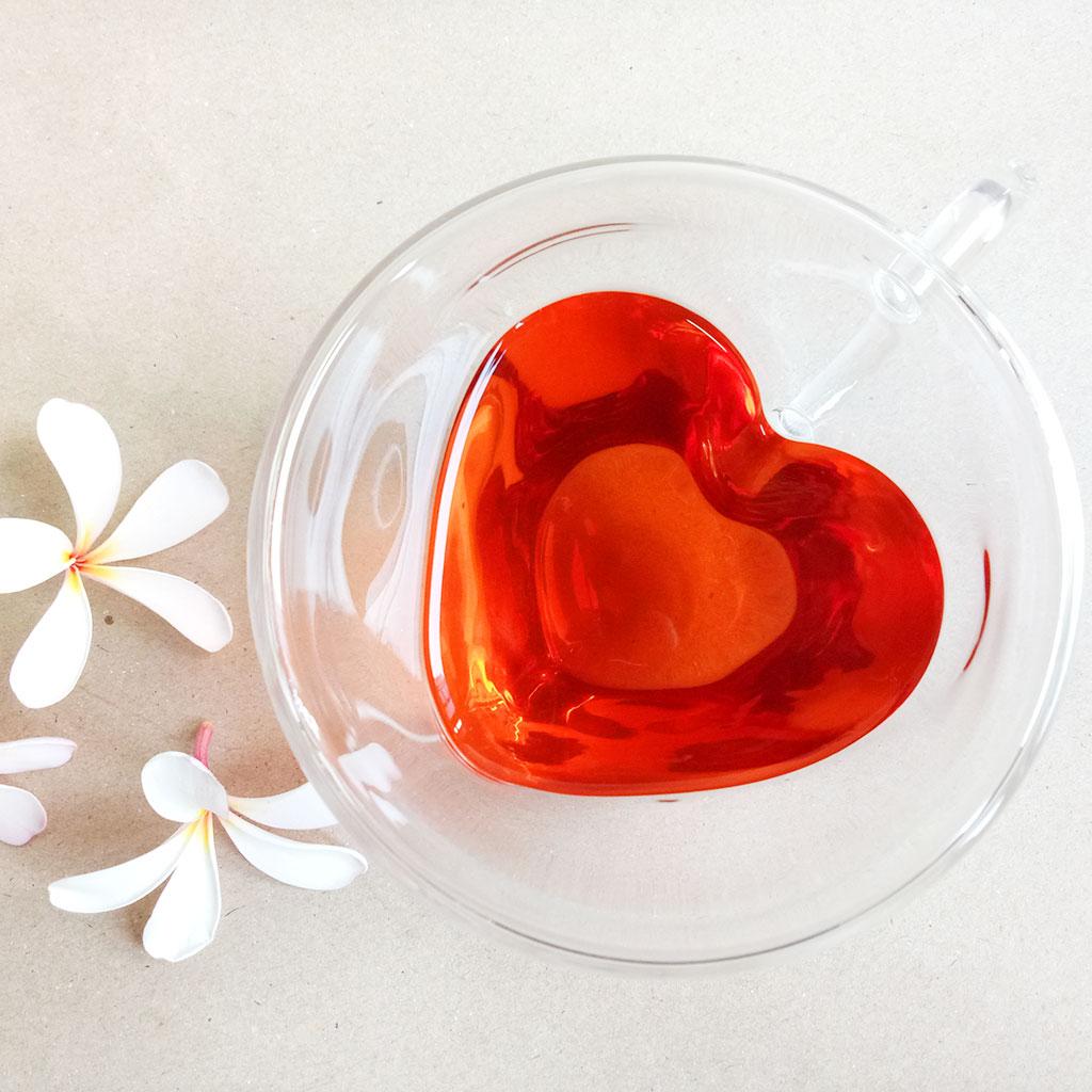 แก้วชา 240 ml. ผนังสองชั้น รูปหัวใจ