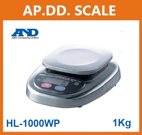 ตาชั่งดิจิตอล เครื่องชั่งดิจิตอล เครื่องชั่งกันน้ำ1000g ความละเอียด0.5g AND HL-WP-1000 ขนาดจานชั่ง 12.8x12.8cm.