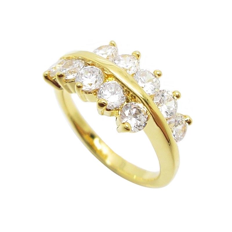 แหวนเพชรประดับแถวคู่ชุบทอง