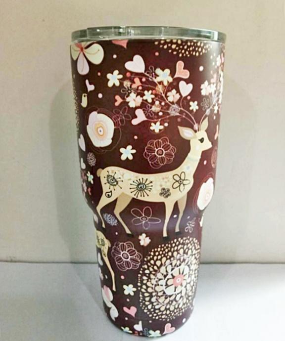 แก้วYETI แก้วเก็บความเย็น แก้วเยติ ลายกวางน้ำตาล 30 oz พร้อมส่ง(no logo)