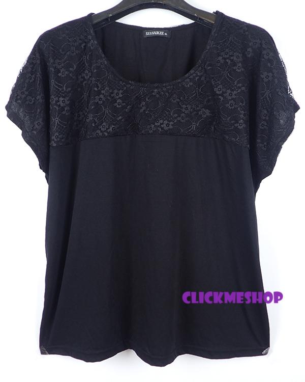 (ไซส์ 3L หน้าอก 44 ยาว 27 นิ้ว) เสื้อยืดคอยูสีดำ ยี่ห้อ. sun มีเย็บลูกไม้แถบคอเสื้อ ปลายแขนล้ำผ้านิ่มน่ารักคะ เนื้อผ้านิ่มๆใส่สบายๆคะ