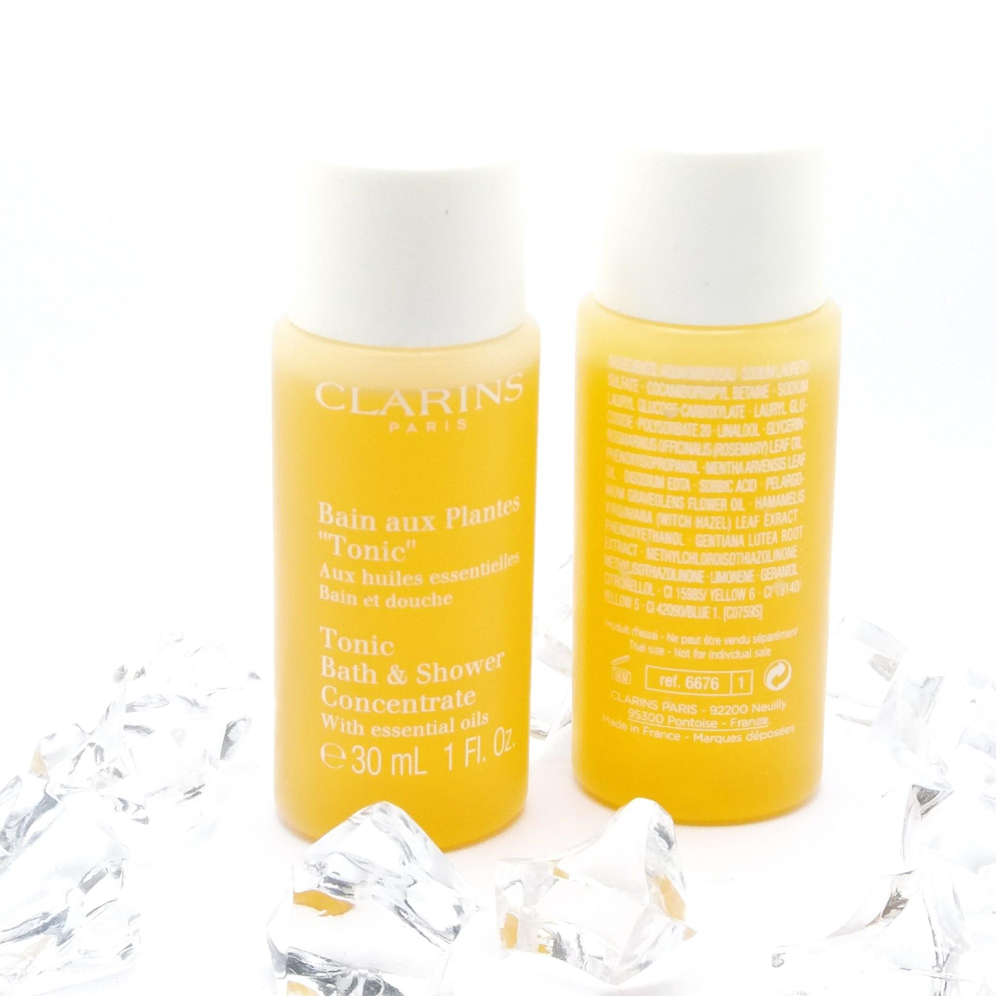 Clarins Tonic Bath & Shower Concentrate 30 ml. เจลอาบน้ำ ช่วยกระชับผิวให้เรียบเนียน ลดการบวมน้ำในผิว เติมความชุ่มชื่น ให้ผิวเนียนนุ่ม เปล่งปลั่ง อณูฟองละเอียดเข้าชะล้าง สิ่งสกปรกได้สะอาดหมดจด ด้วยสารสกัดจาก Gentian และ Pine พร้อมมอบความรู้สึกผ่อนคลายขณะอา