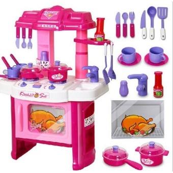 พร้อมส่ง ส่งฟรี-ชุดโต๊ะครัวครบเซ็ทกล่องชมพู Kitchen set เล่นได้จริงๆ