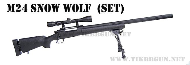 ปืนอัดลมเบาแบบชักยิงทีล่ะนัด รุ่น M24 Snow Wolf ครบชุด สีดำ