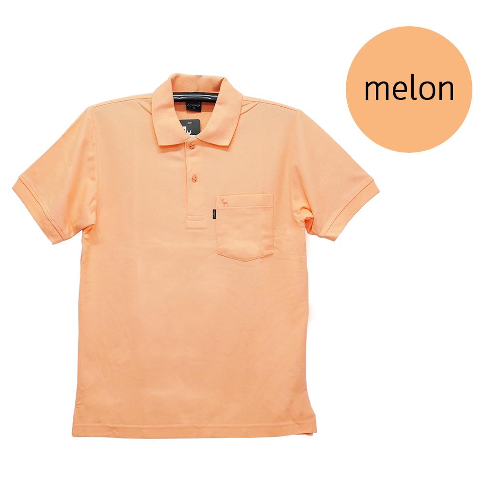 เสื้อโปโลชายสีส้มเมล่อน