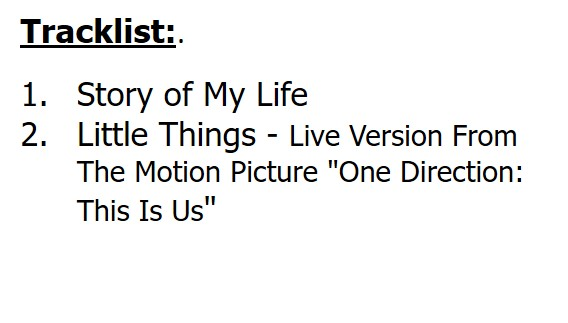 ONE DIRCTION : CD STORY OF MY LIFE (SINGLE)
