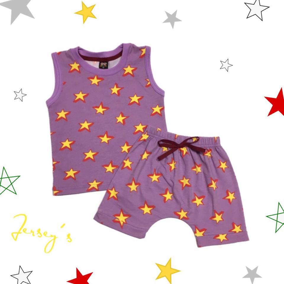 ชุดเซตเสื้อกล้ามสีม่วง ลายดาว