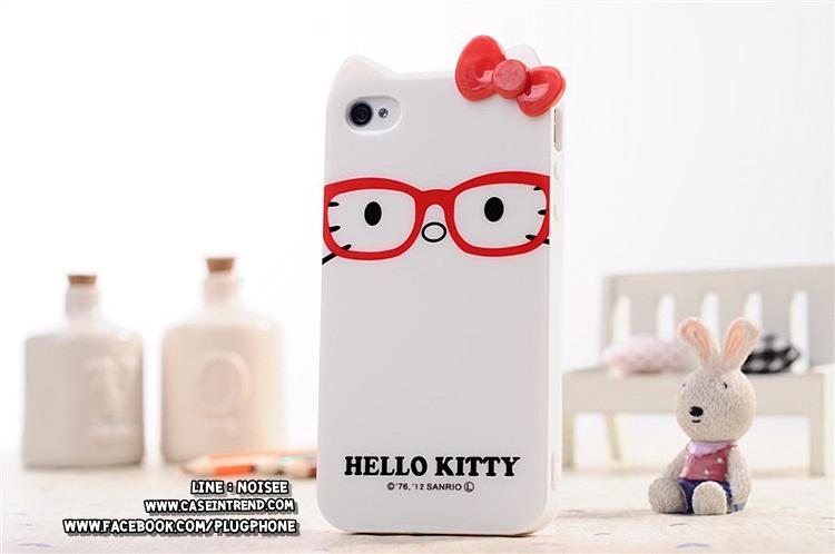 เคส iPhone5 kittyใส่แว่น [TPU นิ่มสามารถบิดงอได้]
