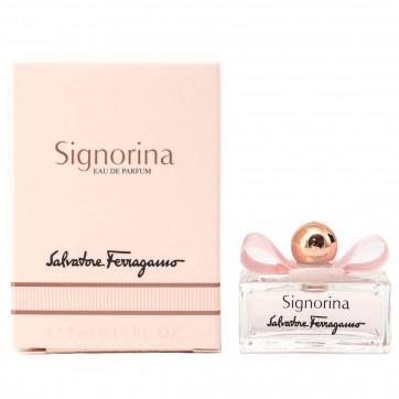 น้ำหอม Salvatore Ferragamo Signorina Eau de Toilette 5 ml (ขนาดทดลอง มีกล่อง หัวแต้ม) น้ำหอมกลิ่นฟลอร่าฟรุ๊ตตี้สำหรับสาวมีสไตล์ สดชื่น,อ่อนหวาน,หรูหราและสนุกสนาน