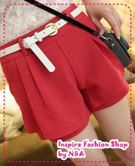 [Preorder] กางเกงขาสั้นแฟชั่นเกาหลีพร้อมเข็มขัดเก๋ๆ สีแดง 2012 summer new casual and simple solid color shorts color to send the belt