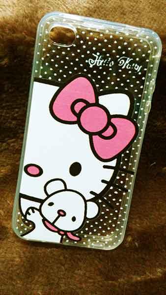 case iphone 4/4s ขอบยางหลังใส Kitty 2