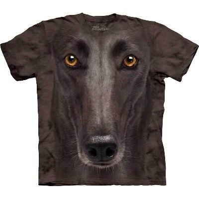 Big-Face Black Greyhound Dog-T-Shirts