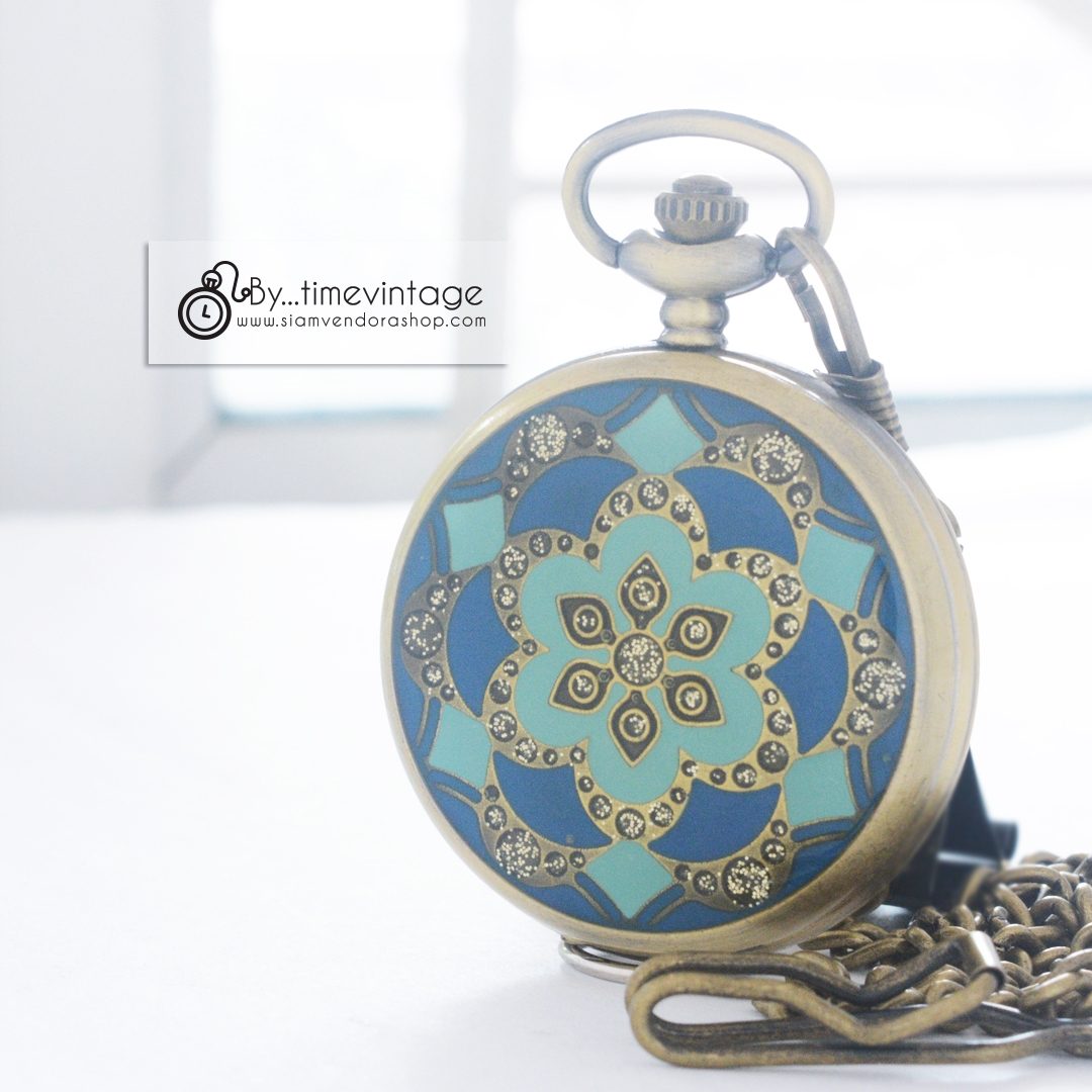 ของขวัญนาฬิกาพก สีน้ำเงิน Dark Blue Antique Brass Stone Flower (พร้อมส่ง)