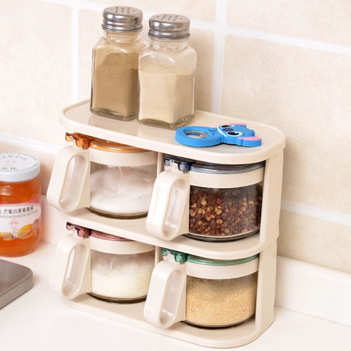 [Preorder] เซ็ทเครื่องปรุง 9 ใบ พร้อมที่วาง Wholesale high quality colorful minimalist glass spice jar seasoning jar seasoning box with a lid with metering spoon