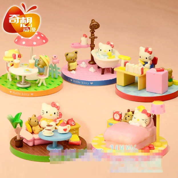 [Preorder] เซ็ทโมเดลแมวเหมียคิตตี้ Hello Kitty 5 แบบ ต่อ 1 เซ็ท hello kitty set of five models creative toy doll doll birthday gift new boxed hand to do