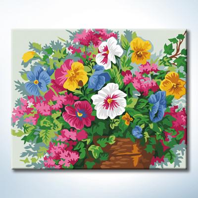 "TG367 ภาพระบายสีตามตัวเลข ""ดอกไม้หลากสีในแจกันดิน"""