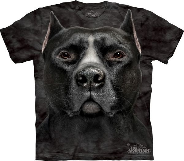 Big Face Black Pitbull Dog T-Shirts