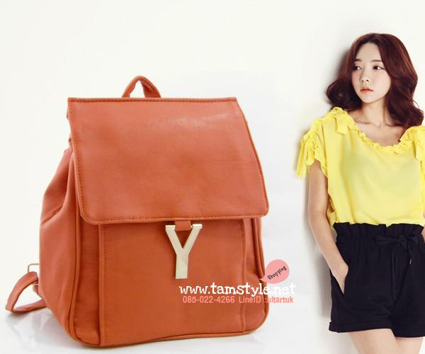 กระเป๋าถือ+สะพาย+เป้ หนังPUนิ่มเนื้อดี แต่งอะไหล่สไตล์อีฟแซง-ysl สีน้ำตาลส้ม กระเป๋าแฟชั่นพร้อมส่ง