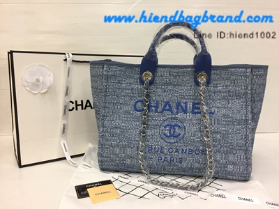 CHANEL Canvas Deauville Large Shopping Tote Bag