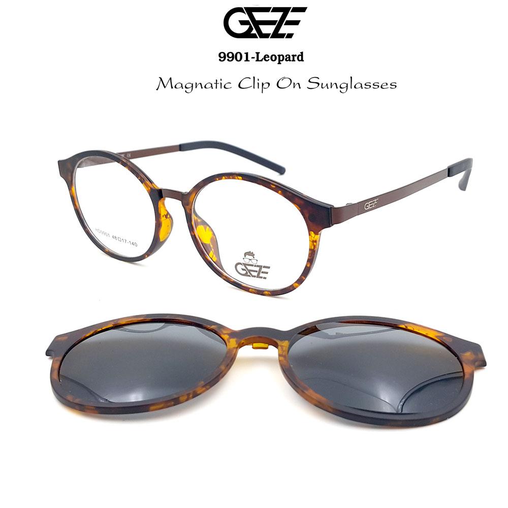 กรอบแว่นตากรองแสง ฟรี คลิปออนกันแดดสีดำ Polarized GEZE 1ClipOn รุ่น 9901 สีน้ำตาลลายกะ ป้องกันแสงแดด รังสี UVA UVB UV400 ลดอาการแสบตา ได้อย่างดีเยี่ยม