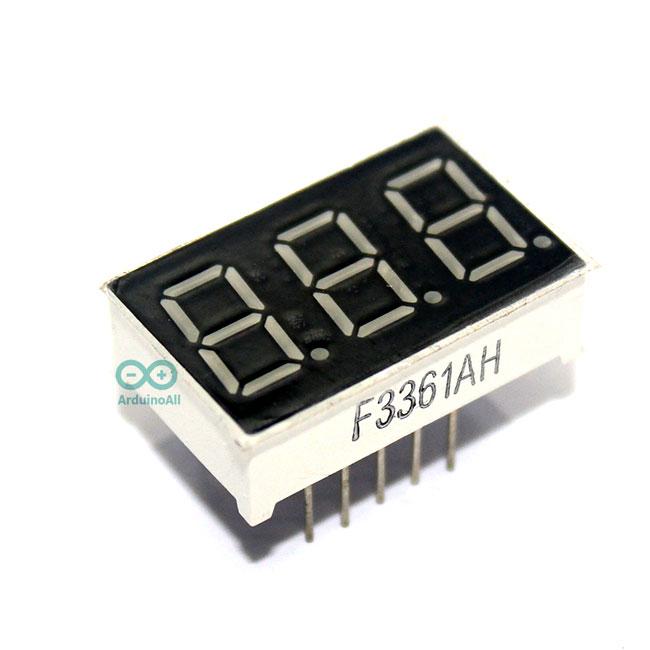 "7 Segment 0.36"" Common Cathode 3 digit Red ไฟ 7 segment 0.36"" 3 หลัก สีแดงแบบไฟลบร่วม 3361A"