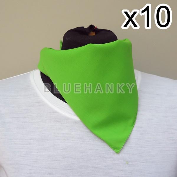 10ผืน สีเขียวตอง สี่เหลี่ยม53ซม ผ้าพันคอกีฬาสี ผ้าเช็ดหน้าผืนใหญ่