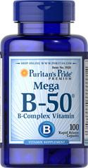 Puritan's Pride Puritan's Pride Mega Vitamin B-50 B Complex 100 Caplets วิตามินบีรวมที่ดีที่สุด บำรุงประสาท สมอง ดูแลผิวพรรณ ลดสิว ลดความเครียด