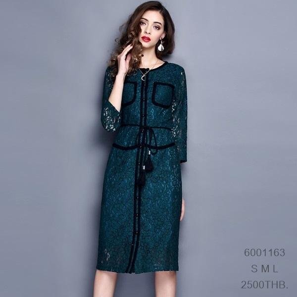 6001163 / S M L / พรีออเดอร์ เดรสสไตล์แบรนด์ ชุดสวย ผ้าดี งานคัตติ้งยุโรปคุณภาพดีสมราคา สวยคอนเฟริ์ม