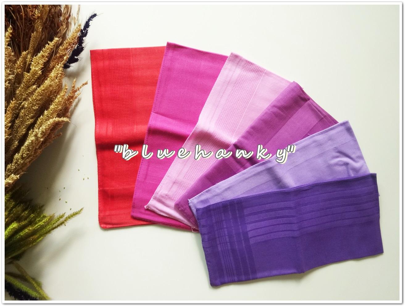 ผ้าเช็ดหน้าสีพื้นโทนสีชมพูม่วง 6 ผืน