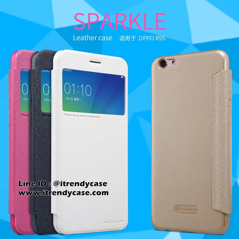 OPPO R9s - เคสฝาพับ Nillkin Sparkle leather case แท้