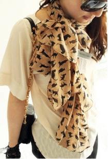 ผ้าพันคอชีฟอง ลายแมวสีน้ำตาล ( รหัส P22 )