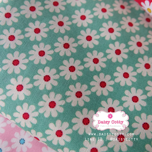 ผ้าคอตตอนไทย 100% 1/4 ม.(50x55ซม.) พื้นสีเขียวอ่อน ลายดอกไม้สีขาว