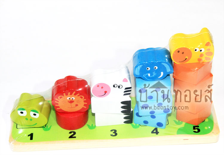 สวมเสารูปสัตว์ Wood Toy ของเล่นไม้ Animal Stackking เสาหลักรูปสัตว์ สอนคณิตศาสตร์