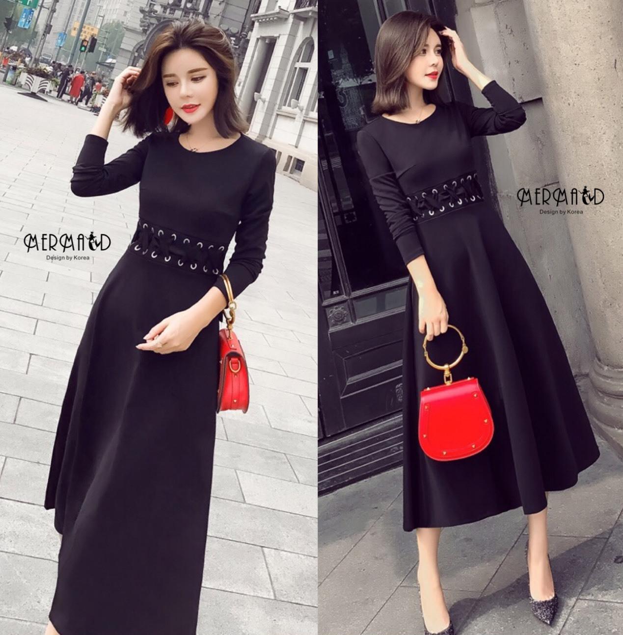 ชุดเดรสเกาหลี พร้อมส่ง Maxi dress ตัวยาว