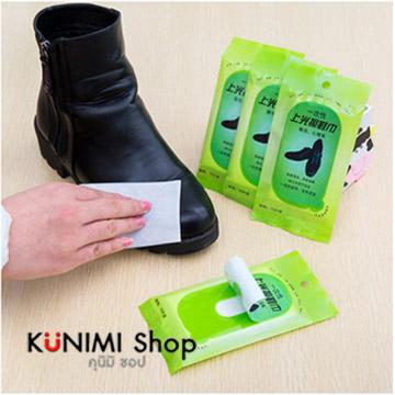 GK189 กระดาษเช็ดทำความสะอาดรองเท้าหนัง ชุบน้ำยาทำความสะอาด 1 แพ็ค มี 10 ชิ้น พกพาไปในที่ต่างๆสะดวก