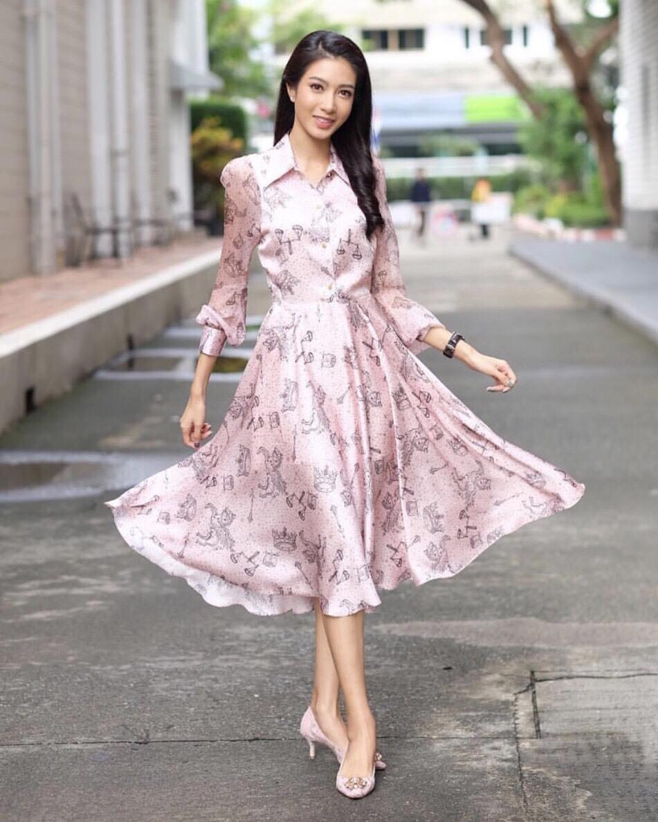 พร้อมส่ง ชุดเดรสสวย สีชมพูหวาน