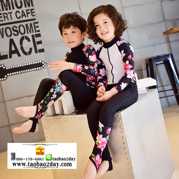 ชุดว่ายน้ำคู่เด็กชายหญิง ชุดดำน้ำแขนยาวขายาวซิปที่หน้าอกลายดอกไม้พื้นดำ ความสูง 90-165ซม.