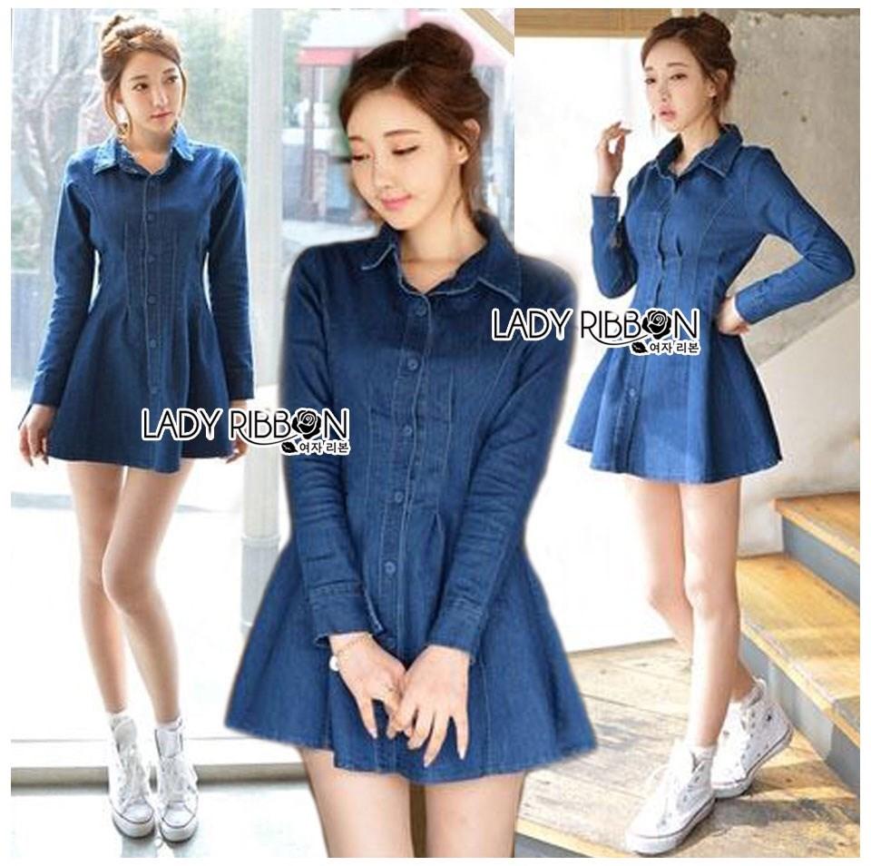 ชุดเดรสเกาหลี พร้อมส่ง เชิ้ตเดรส ผ้าเดนิมสีน้ำเงิน