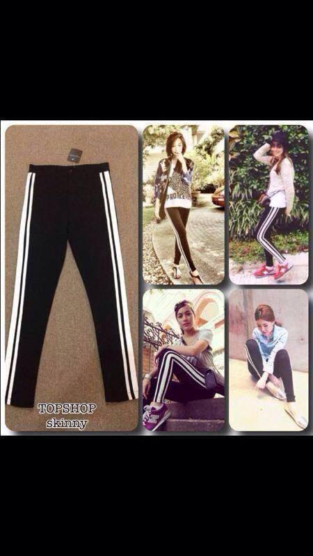 หมดค่ะ:กางเกงขายาวskinny topshop สีดำแถบข้างขาว ผ้าดีมาก สวมใส่สบาย ใส่เที่ยว ใส่ออกกำลังกายได้ สวยเป๊ะค่ะ