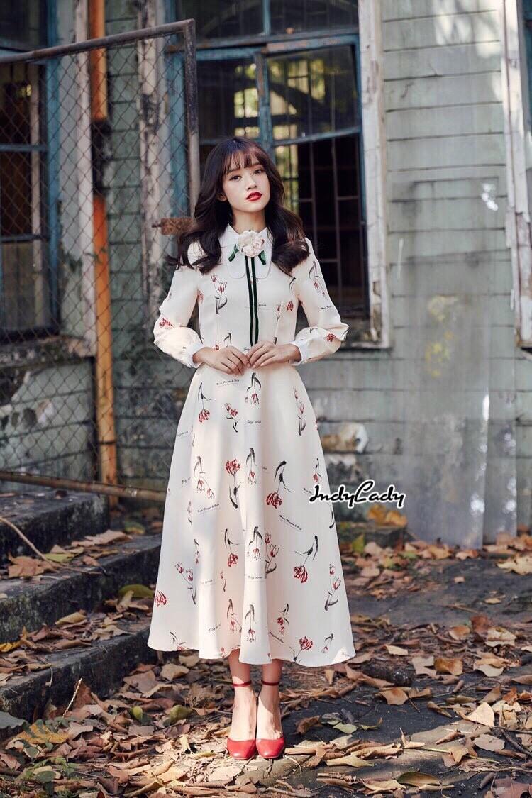 ชุดเดรสเกาหลี พร้อมส่ง Dress ยาว สีครีม