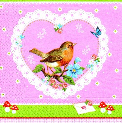 แนวภาพสัตว์ นกในหัวใจ ภาพโทนสีชมพูเขียว เป็นภาพ 4 บล๊อค กระดาษแนพกิ้นสำหรับทำงาน เดคูพาจ Decoupage Paper Napkins ขนาด 33X33cm