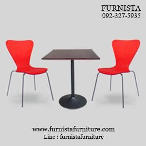 ชุดโต๊ะอาหารขาแชมเปญพร้อมเก้าอี้ดีไซน์สีแดง 2 ที่นั่ง (20 ชุดขึ้นไป)