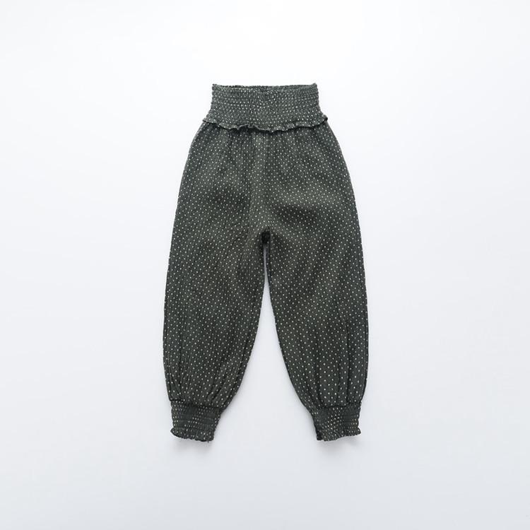 กางเกงฮาเร็ม กางเกงลำลอเด็กงเอวสูงสีเขียว