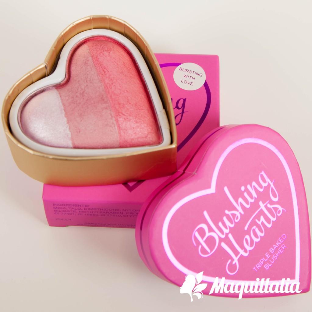 Makeup Revolution Blushing Hearts Triple Baked Blusher # โทนพีช